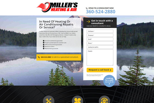 Millers Heating Hubspot Landing Page